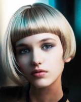 Blonde short asymmetrical bob hairstyle picture