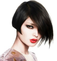 Chic asymmetrical bob hairstyle with layers and long side bangs with a sexy feminien look
