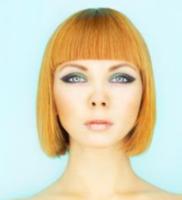 Orange bob hair long straight bang