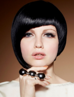 Short asymmetrical bob in black hair with cool side bangs and you will get alot of attention