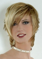 Short layered hairstyle with very long swept bangs