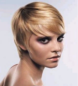 Stylish blonde short women hairstyle with long swept bang.PNG
