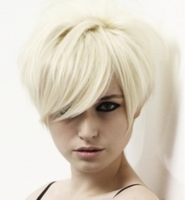 Stylish women short hairstyle with very short length in the back and long bangs.PNG