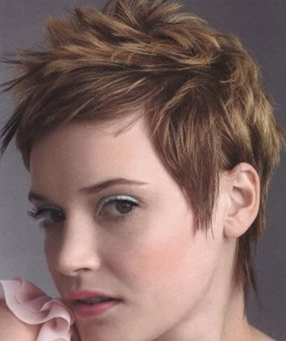 Women short spiky hairstyle with short bangs picture
