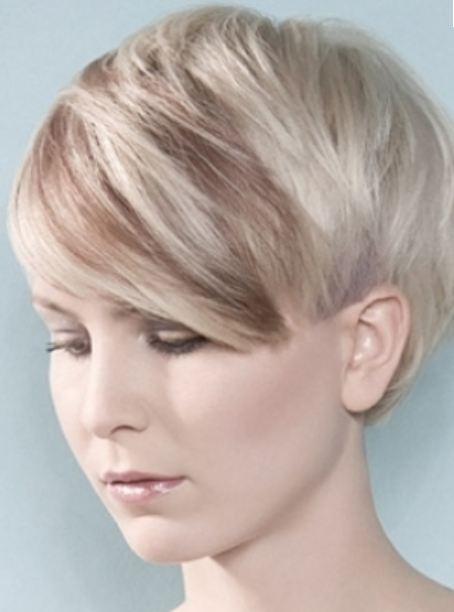 Women Very Short Hairstyle With Long Bangs With Highlights Ice Blond